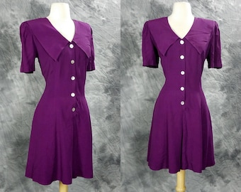 1990s magenta romper, collared, button up, short sleeve, fit and flare, Byer too, medium to large
