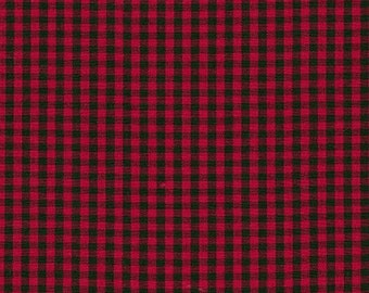 Red and Black Plaid Fabric from Robert Kaufman. Carolina Gingham 1/8 inch - Red Black Check Checkers - 100% cotton. P-5689-93 SCARLET
