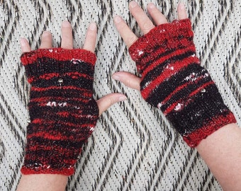 Harley Quinn, suicide squad themed mitts, cosplay, hand spun, hand knitted 8 inch long, fingerless gloves, texting gloves, medium size