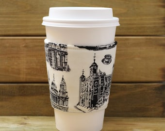 Fabric Coffee Cozy / London Coffee Cozy / Keep Calm and Carry On Coffee Cozy / Coffee Cozy / Tea Cozy