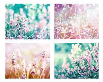 nature photography botanical print set floral photography 8x10 12x18 fine art photography flower wall decor photo pink teal peach pastel