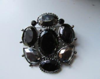 Huge Black & Silver Cabochon Rhinestone Brooch