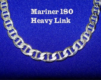 """8.2 mm Wide 30"""" Long Extra HEAVY Chain #180 MARINER in STERLING Silver"""