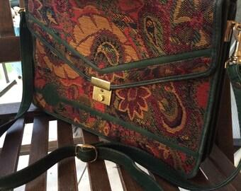 90s Top handle tapestry mini briefcase / handbag/ attaché