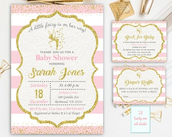 Fairy Baby Shower Invitation + Book for Baby + Diaper Raffle, Pink and Gold invitations, Book for baby Diaper Raffle, Printable PACKAGE
