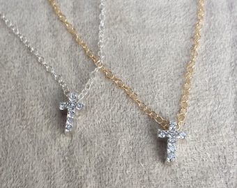 Tiny CZ Cross Necklace Tiny Diamond Cross Confirmation Baptism Gift Crystal Pave Sterling Silver Gold Fill Dainty Delicate Gift for Girl