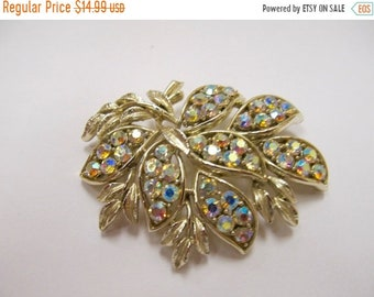 On Sale Vintage Large Iridescent Rhinestone Floral Spray Pin Item K # 2675