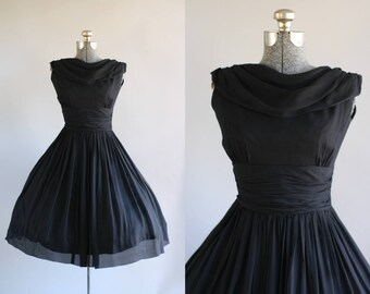 Vintage 1950s Dress / 50s Party Dress / Black Party Dress w/ Ruched Waist S