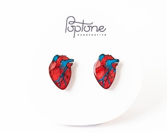 Anatomic Heart Earrings, human heart, alternative valentines, valentine earrings, anatomical heart stud earrings