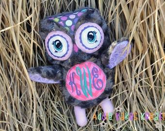 Personalized Plush Owl / Stuffed Animal / Open Eyed Version