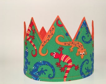 Lizard Birthday Crown, Gecko Party Hat, Boys Birthday Crown, Lizard Birthday Party, Creepy Crawly Birthday, Boys First Smash Cake crown