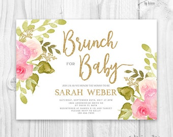 Floral baby shower invitation brunch for baby invitation floral baby shower invitation brunch for baby invitation baby girl invites boho baby stopboris Image collections