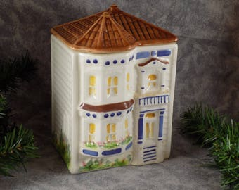 1980's Avon Townhouse Canister Hand Painted Brazil Rare