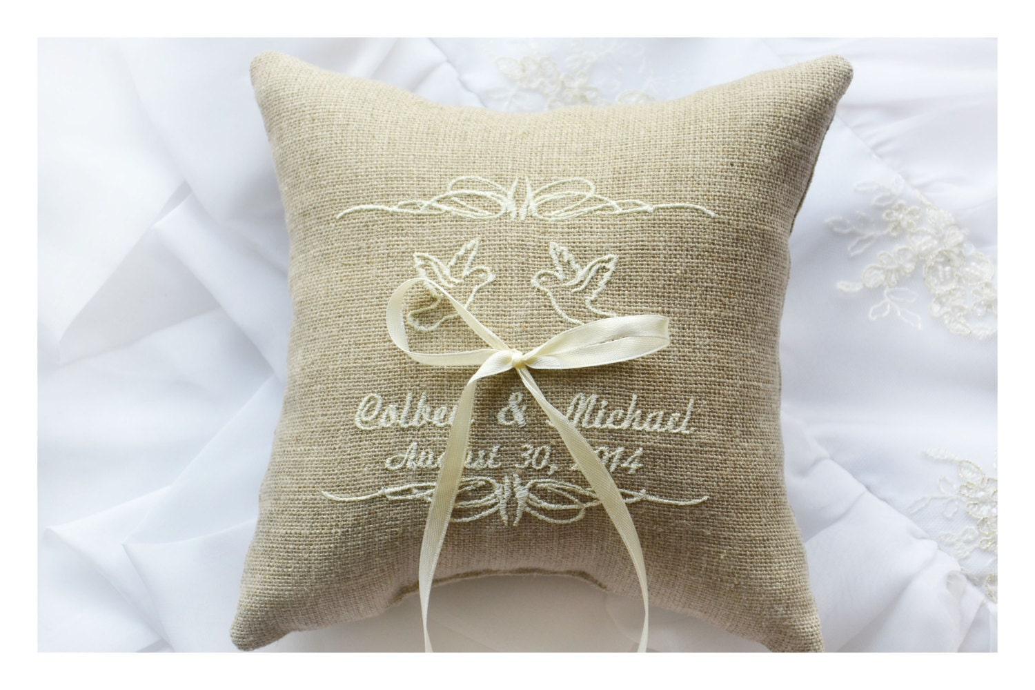 personalised linen wedding ring pillow ring pillow ring