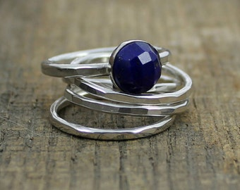 Faceted Blue Lapis Sterling Stacking Rings - Set of 4 hammered and 1 wide hammered - MADE TO ORDER