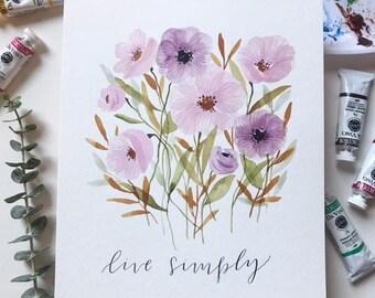 Live Simply original 8x10 watercolor