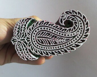 Indian wooden hand carved textile printing on fabric block / stamp fine carving cute paisley leaf pattern