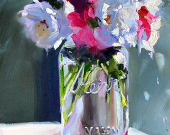 Art Print ,KERR MASON JAR, white and pink flowers, gift, oil on canvas,pink and blue, impressionistic art