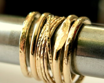 Gold Stacking Rings, Five Rings Set, Handmade Rings, 1/2 Inch Set Width , Gold Filled Rings, Statement Stackable Rings Set