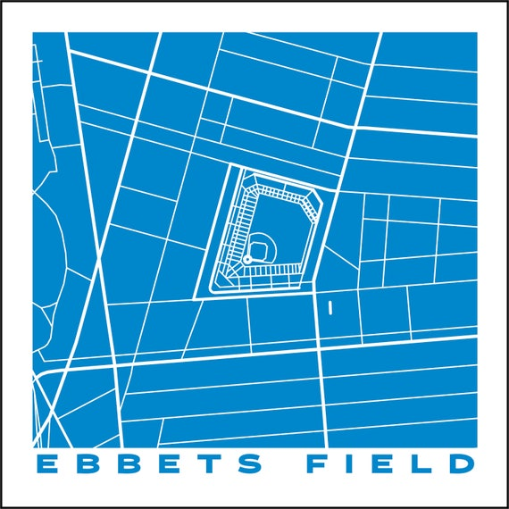 Ebbets field brooklyn dodgers city map giclee fine art print ebbets field brooklyn dodgers city map giclee fine art print abstract modern wall art gift home office blueprint drawing site plan malvernweather Image collections