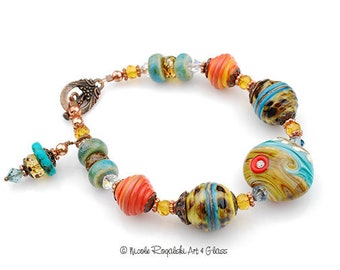 California Dreaming Beaded Bracelet - Artisan Lampwork Glass, Turquoise, Orange, Copper, Silver
