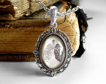 Anatomical Lungs Necklace - Little Antique Anatomy Print Necklace in Silver