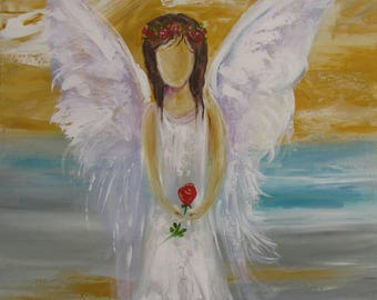 Unique angel art to keep you safe. Art work is original acylic perfect to bright any room.