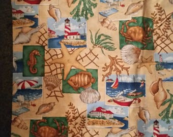 Ocean theme seashells nautical theme sailboats out of print fabric sold by the 1/2 yard