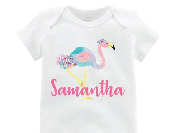 Girl Flamingo Onesie Flamingo Shirt Personalized Onesie Floral Raglan Flutter Sleeve Girl Shirt Leotard Monogram Shirt Floral Flamingo