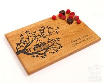 Personalized Cutting Board Wedding Gift Custom Wedding Gift For Couple Owls Engraved Cutting Board Wedding gift ideas Anniversary Gift