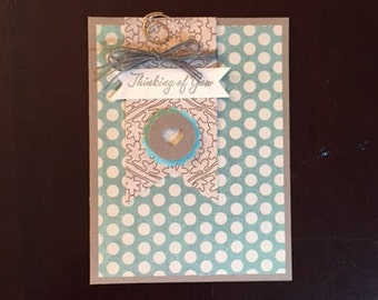 homemade thinking of you card; thinking of you homemade card; blank inside; greeting card; thinking of you
