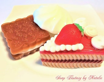 3 Dessert Soaps,Cake Soap-Cookie Soap-Zephyr Soap. Birthday Gift,Party Favor