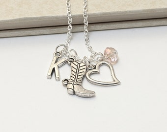 Personalized Boots & Hearts Necklace with Your Initial and Birthstone