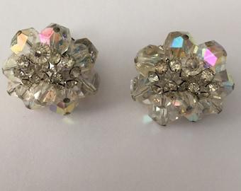 Vendome Aurora Borealis Crystals Clip Screwback 1950s earrings nice vintage condition; no missing stones - backs works great original parts