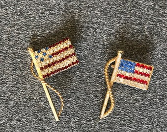 Vintage American Flag Brooches