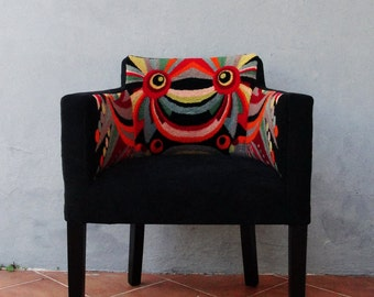 Art Deco Chair Embroidered Geometric Vanity Stool Colorful Bohemian Furniture, Boho Chair Vintage Embroidery