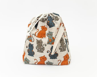 Large Drawstring Knitting Project Bag. CATS. Special KnitterBag design. Spindle Bag Crochet Knitter project bag WIP bag