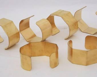 """5 Sided Brass Bracelet Cuff Blanks 1"""" For Jewelry Making Package of 6"""