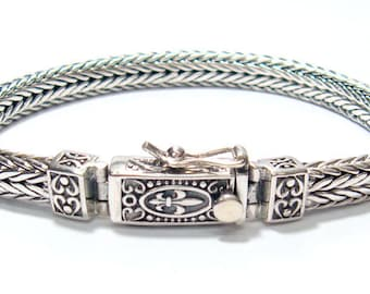 Woven bracelet 925 sterling silver classic clasp with safety