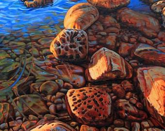 "Landscape Art Print - ""Gold Rocks"", Limited Edition Giclee Print on Fine Art Paper of shoreline rocks, 16"" x 12"""