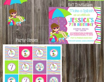 SWIMMING POOL Birthday Party Package - Girl DIY Printable