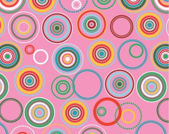 American cotton fabric Colorifix - Blend Fabrics designer Maude Asbury - colorful wheels pink - by 50cm (110 x)