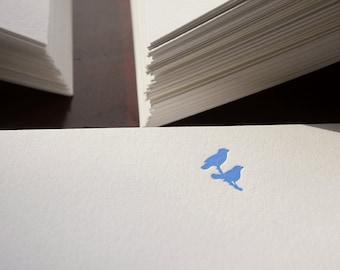 Flat Card Set with Letterpress Birds