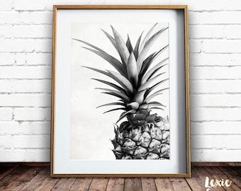Pineapple Print, Tropical Print, Pineapple Photo, Black and White, Fruit Print, Pineapple Wall Art, Printable Wall Art, Instant Download