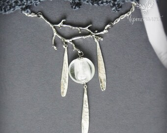 Boho necklace White branch
