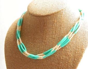 Vintage Czech Blue Glass & Pearl Necklace - Robin's Egg - Multi Strand - 4 Strands - 1980