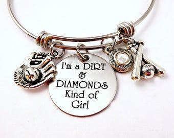 BaseBall Bangle Bracelet - Expandable - I'm A Dirt and Diamonds Kind of Girl jewelry - Engraved - Baseball Mom - Coach- Major Leagues