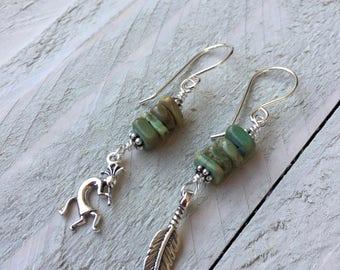 Kokopelli Earrings Feather Earrings Kokopelli Jewelry Feather Jewelry Sterling Earrings Silver Earrings Southwest Earrings Tribal Earrings