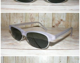 Vintage sunglasses, Vintage 80s deadstock slim clubmaster sunglasses clear matt grey frame (SG08)