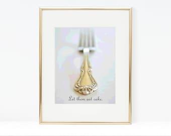Let Them Eat Cake Digital Art Print - Cake Fork, Cake Photography Printable, Bakery Art, Kitchen Wall Art, Instant Download, Typography
